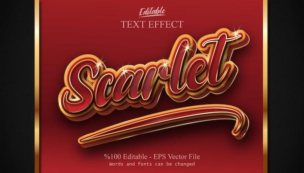 Scarlet bewerkbare teksteffect vector