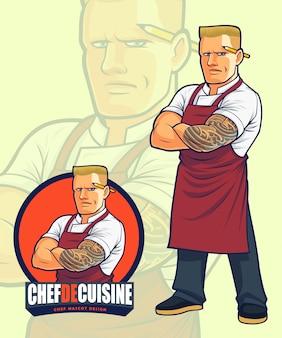 Scary chef-mascotteontwerp voor illustratie of embleemontwerp