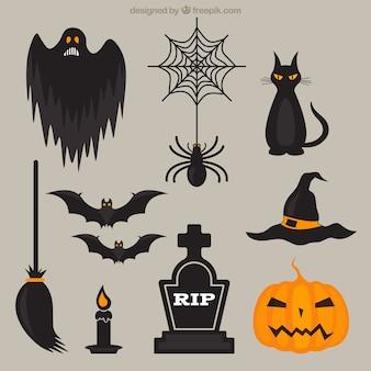 Scary halloween elementen