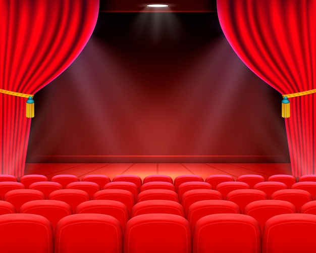 Scène bioscoop achtergrondkunst, prestaties op het podium. vector illustratie