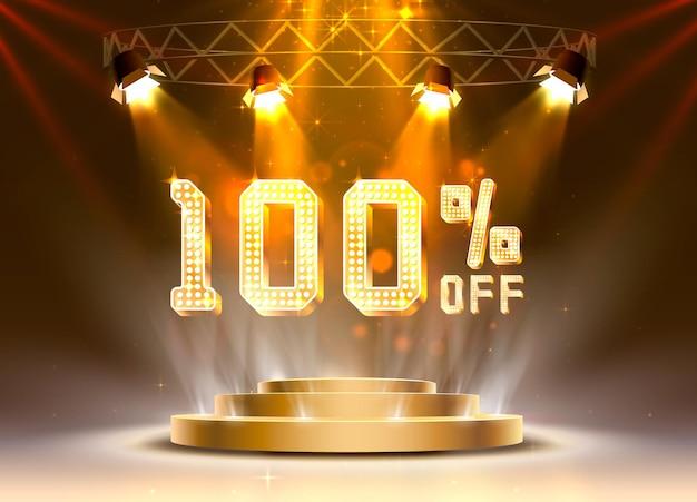 Scène gouden 100 verkoop van tekstbanner. nacht teken. vector illustratie