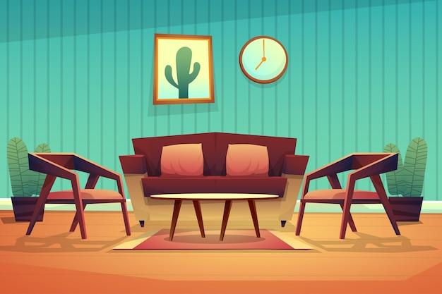Scène interieur ingerichte woonkamer met rode bank met kussens, fauteuil en salontafel op tapijt