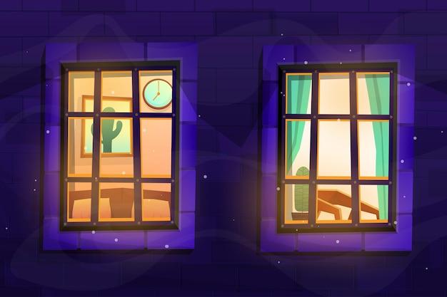 Scène keek door een glazen raam en zag de binnenkant van het huis.