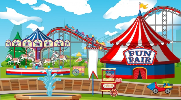 Scène met achtbaan en carrousel in de markt