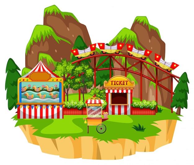 Scène met achtbaan en spel op het eiland