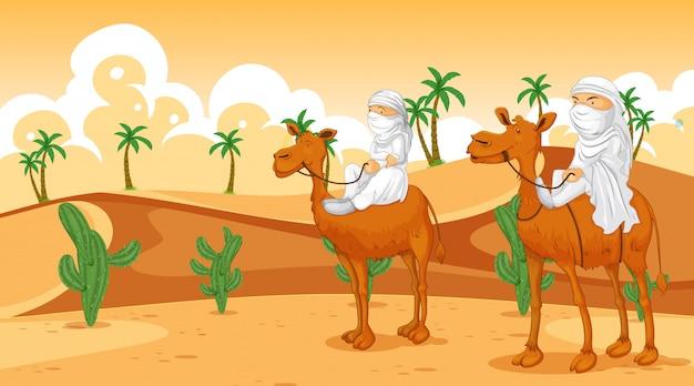 Scène met arabieren die op kamelen rijden
