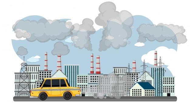 Scène met auto's en fabrieksgebouwen die vuile rook in de stad maken