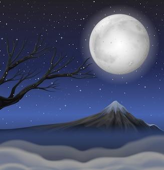 Scène met berg op volle maannacht