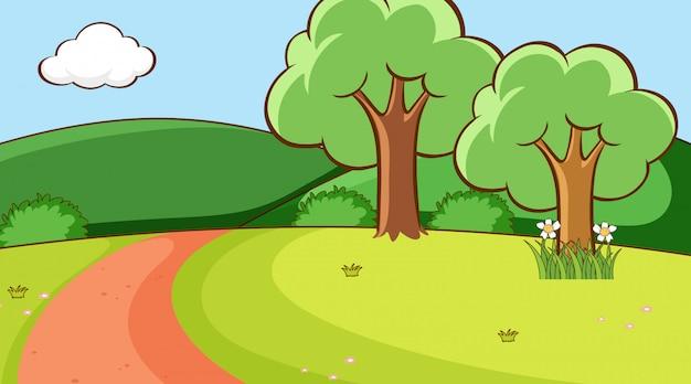 Scène met bomen en weg op de heuvel
