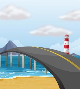 Scène met brug over de oceaan