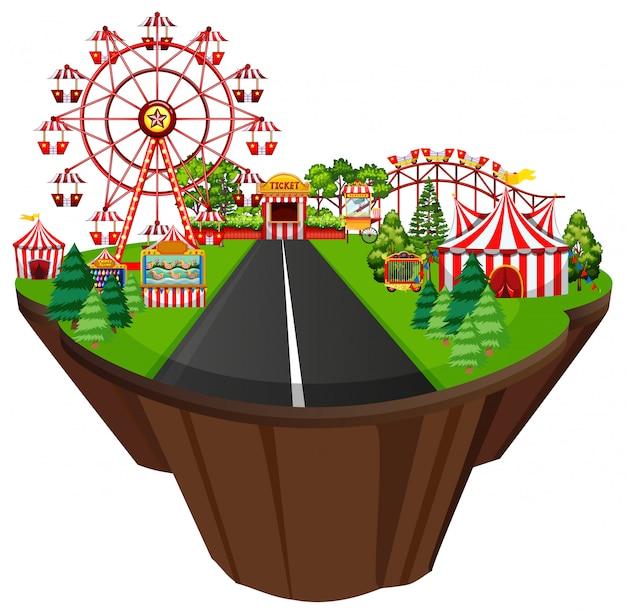 Scène met circustenten en vele attracties langs de weg