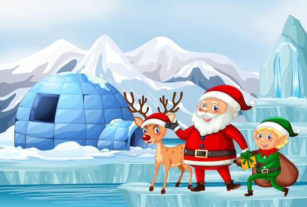 Scène met de kerstman en rendieren
