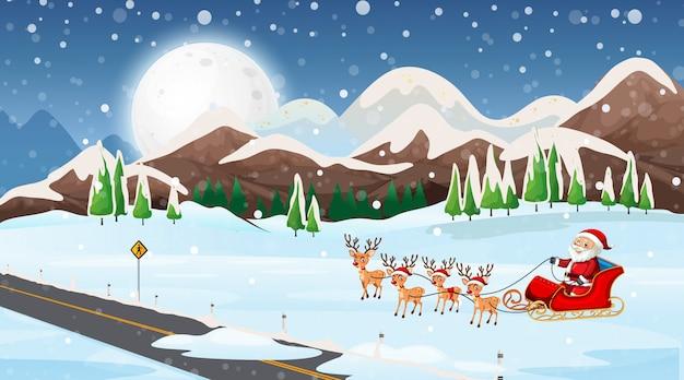 Scène met de kerstman op de slee