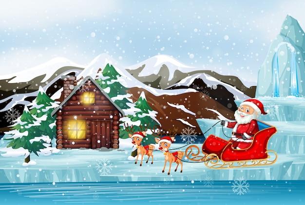Scène met de kerstman op slee