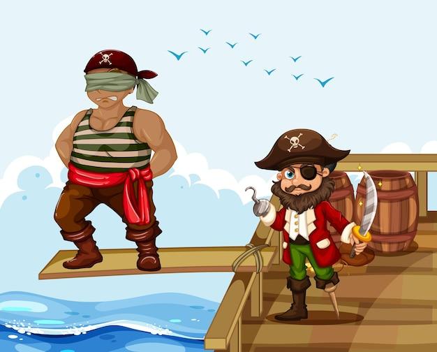 Scène met een man die over de plank op het schip loopt