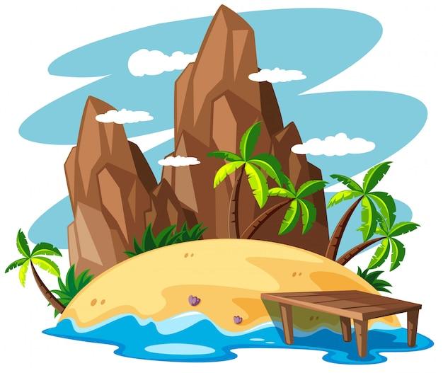 Scène met eiland in de zee