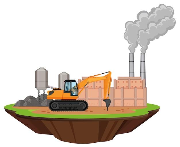 Scène met fabrieksgebouwen en boormachine op de site