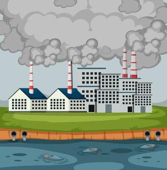 Scène met fabrieksgebouwen en veel rook