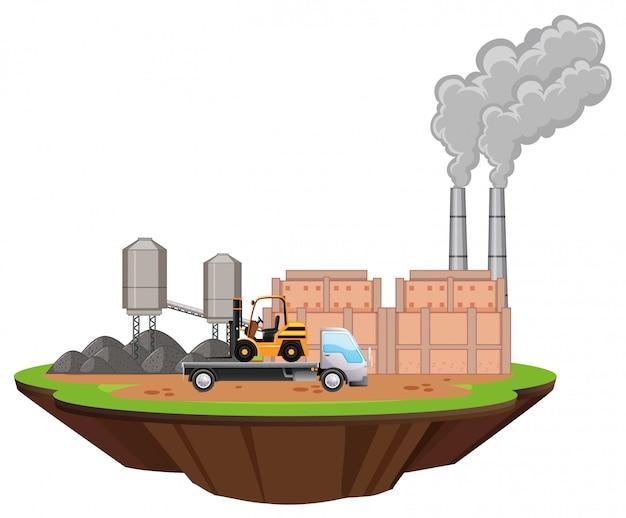 Scène met fabrieksgebouwen en vorkheftruck op de site