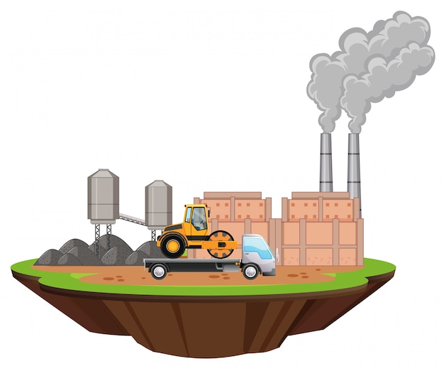 Scène met fabrieksgebouwen en vrachtwagens op de site