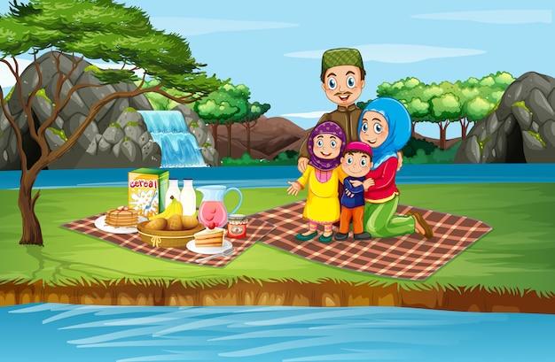 Scène met familiepicknicken in het park