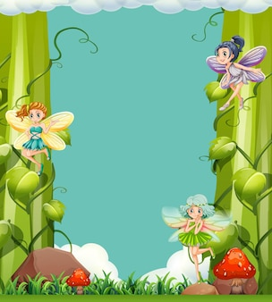 Scène met feeën in de tuin