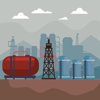 Scène met fracking in de industrie Premium Vector