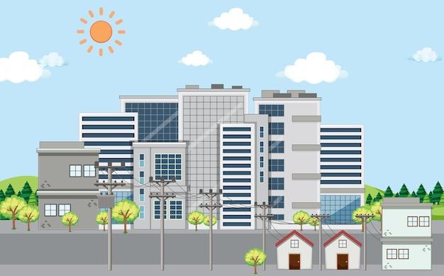 Scène met gebouwen en huizen in de stad
