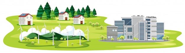 Scène met gebouwen en huizen