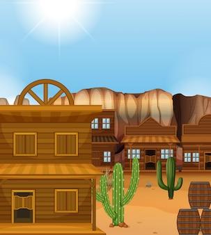 Scène met gebouwen in westerse stijl