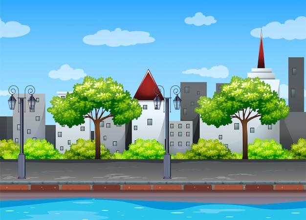 Scène met gebouwen langs het kanaal