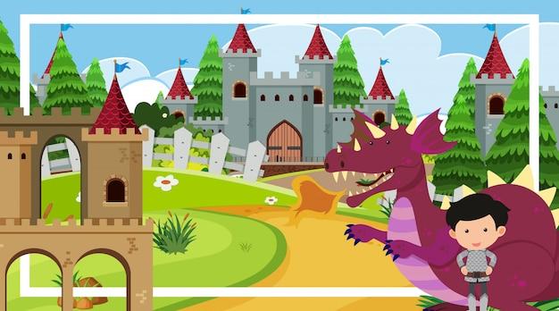 Scène met grote ridder en draak bij de kasteeltorens