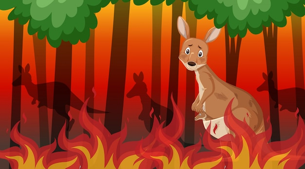 Scène met grote wildvuur met dier opgesloten in het bos
