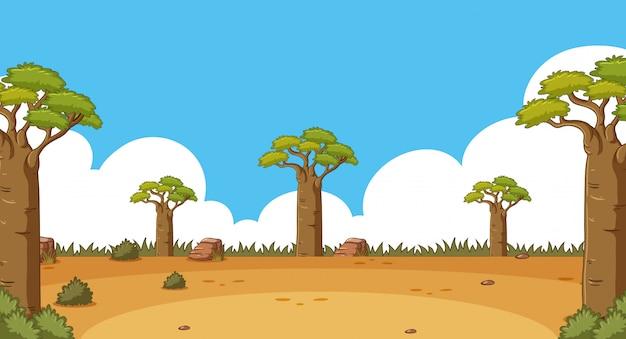 Scène met hoge bomen in het veld