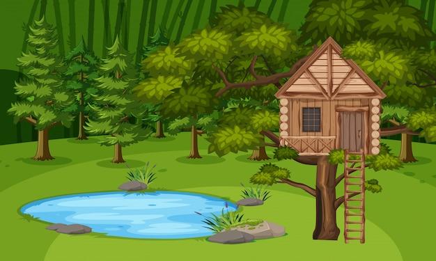 Scène met houten boomhut in het bos