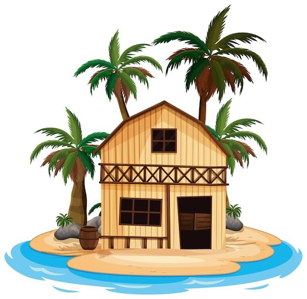 Scène met houten huis op het eiland op witte achtergrond