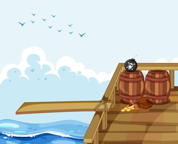 Scène met houten plank op het schip