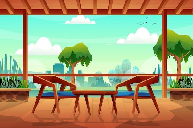 Scène met houten stoel met salontafel op houten vloer en plafond