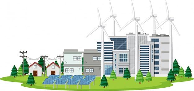 Scène met huizen en schone energie