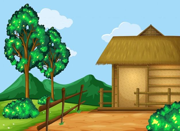Scène met hut in het veld