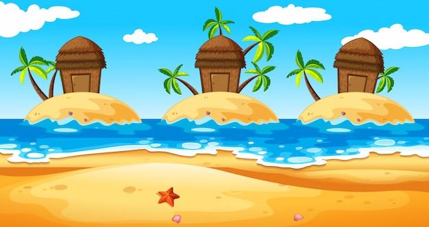 Scène met hutten op eiland