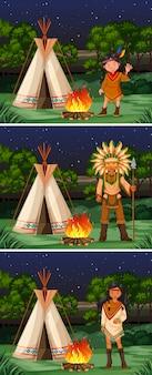 Scène met inheemse amerikaanse indiërs bij kampeerterrein