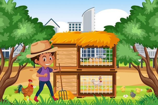 Scène met jongen die aan de kippenboerderij werkt