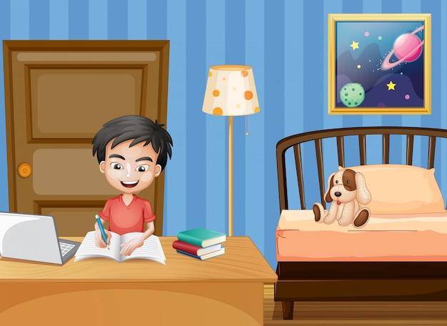 Scène met jongen die in slaapkamer schrijft
