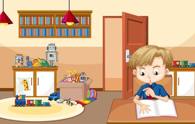 Scène met jongen die thuiswerk thuis doet