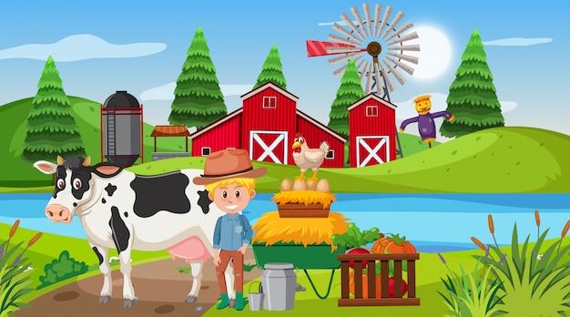 Scène met jongen en koe op het boerenerf