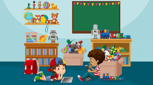 Scène met jongen en meisje spelen in de kamer
