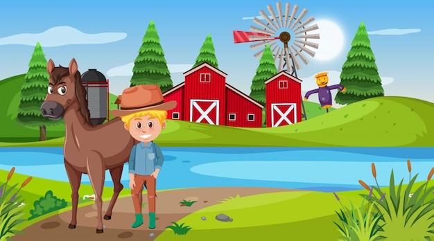 Scène met jongen en paard op de boerderij