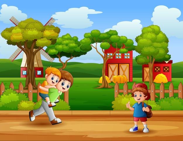 Scène met jongens die op de weg spelen