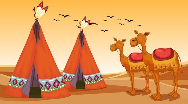 Scène met kamelen en tipi's in de woestijn